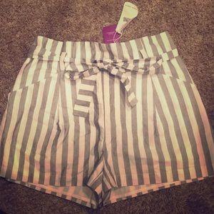 Striped high rise shorts